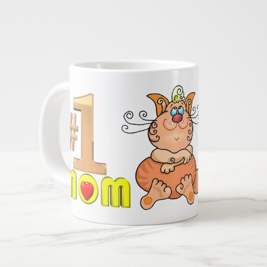 Number 1 Mom Cat Jumbo Mug
