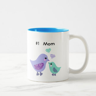 Number 1 mom cute purple & blue bird & chick mug