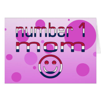 Number 1 Mom in American Flag Colors Card