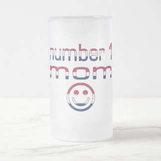 Number 1 Mom in American Flag Colors Frosted Glass Beer Mug
