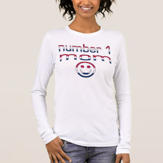 Number 1 Mom in American Flag Colors Long Sleeve T-Shirt