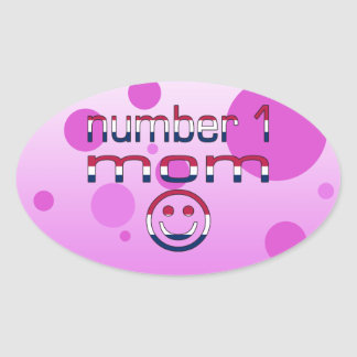 Number 1 Mom in American Flag Colors Oval Sticker