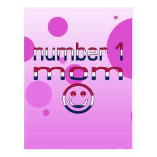 Number 1 Mom in American Flag Colors Postcard