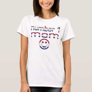 Number 1 Mom in American Flag Colors T-Shirt