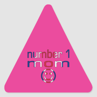 Number 1 Mom ( Mom's Birthday & Mother's Day ) Triangle Sticker