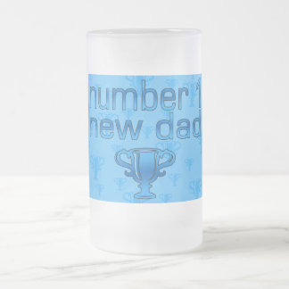 Number 1 New Dad Frosted Glass Beer Mug