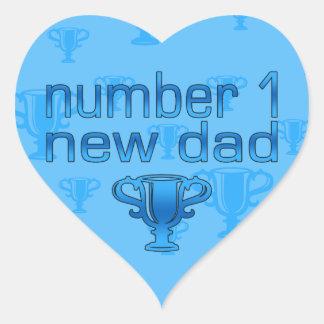 Number 1 New Dad Heart Sticker