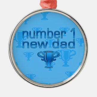 Number 1 New Dad Round Metal Christmas Ornament