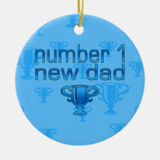 Number 1 New Dad Double-Sided Ceramic Round Christmas Ornament