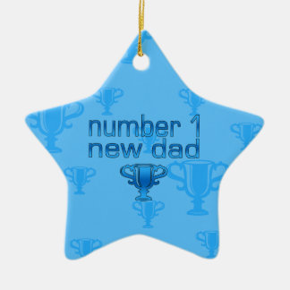 Number 1 New Dad Double-Sided Star Ceramic Christmas Ornament