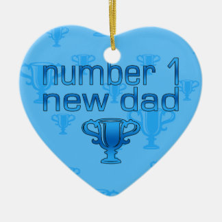 Number 1 New Dad Double-Sided Heart Ceramic Christmas Ornament
