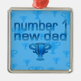 Number 1 New Dad Square Metal Christmas Ornament