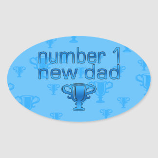 Number 1 New Dad Oval Stickers