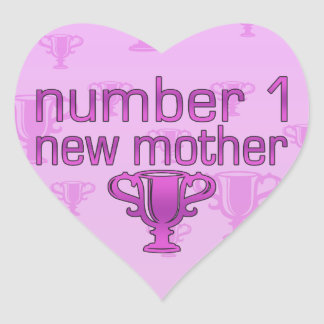 Number 1 New Mother Heart Sticker