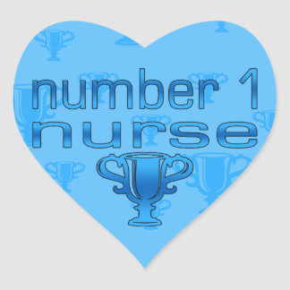 Number 1 Nurse in Blue Heart Sticker