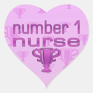 Number 1 Nurse in Pink Heart Sticker