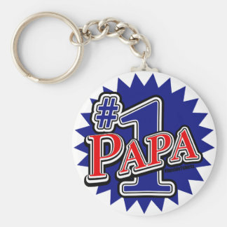 Number 1 Papa Basic Round Button Keychain