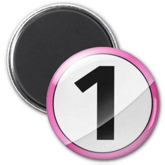Number 1 pink Magent 2 Inch Round Magnet