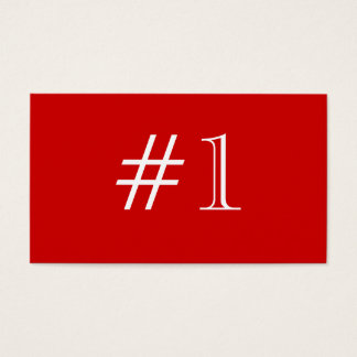 Number 1. Red and White. Custom Business Card