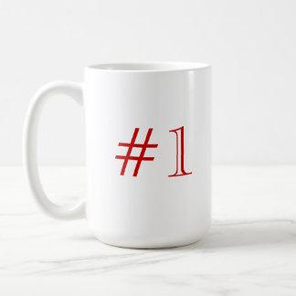 Number 1. Red and White. Custom Coffee Mug