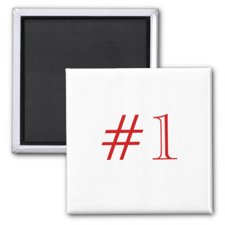Number 1. Red and White. Custom Fridge Magnet