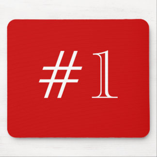 Number 1. Red and White. Custom Mouse Pad