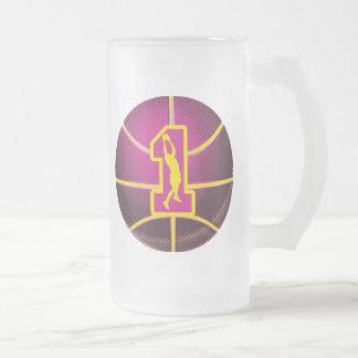 Number 1  Retro Basketball Frosted Glass Beer Mug