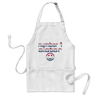 Number 1 Sister in American Flag Colors Adult Apron