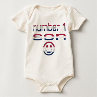 Number 1 Son in American Flag Colors Baby Bodysuit