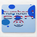 Number 1 Son in American Flag Colors Mousepad