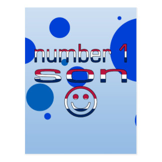 Number 1 Son in American Flag Colors Postcard