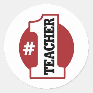 Number 1 Teacher Classic Round Sticker