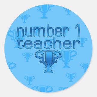 Number 1 Teacher in Blue Classic Round Sticker