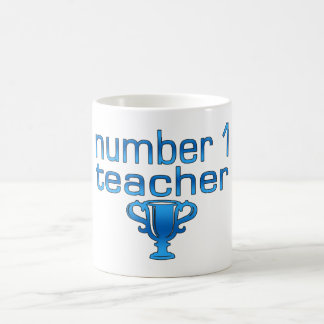 Number 1 Teacher in Blue Coffee Mug
