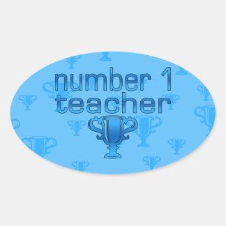 Number 1 Teacher in Blue Oval Sticker