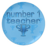 Number 1 Teacher in Blue Party Plate