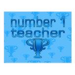 Number 1 Teacher in Blue Postcard