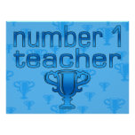 Number 1 Teacher in Blue Posters
