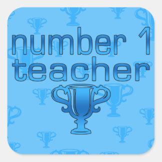 Number 1 Teacher in Blue Square Sticker
