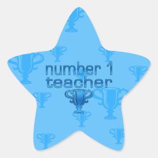Number 1 Teacher in Blue Star Sticker