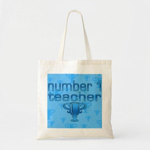 Number 1 Teacher in Blue Tote Bags