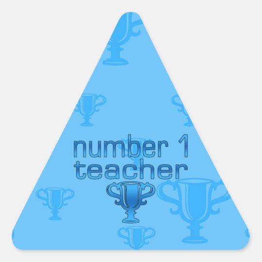 Number 1 Teacher in Blue Triangle Sticker