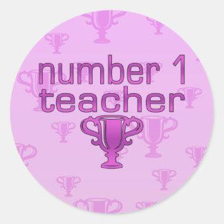 Number 1 Teacher in Pink Classic Round Sticker