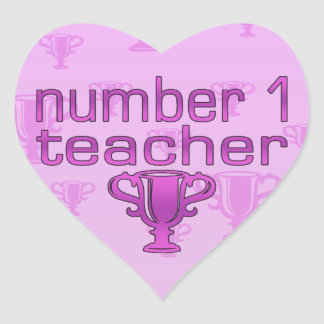 Number 1 Teacher in Pink Heart Sticker