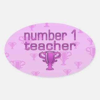 Number 1 Teacher in Pink Oval Sticker