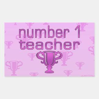 Number 1 Teacher in Pink Rectangular Sticker