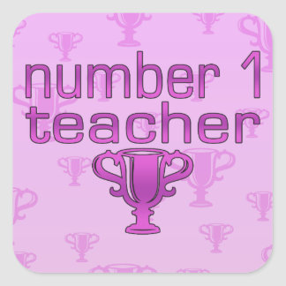 Number 1 Teacher in Pink Square Sticker