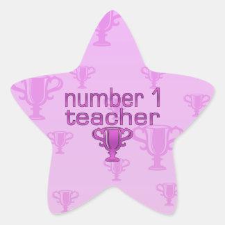 Number 1 Teacher in Pink Star Sticker