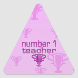 Number 1 Teacher in Pink Triangle Sticker