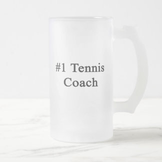 Number 1 Tennis Coach Frosted Glass Mug